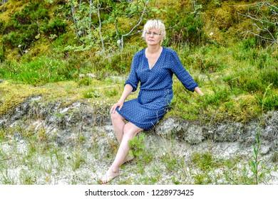 woman relax in the forest. Jurmala.