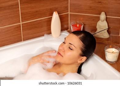 woman relaxing in bath #16