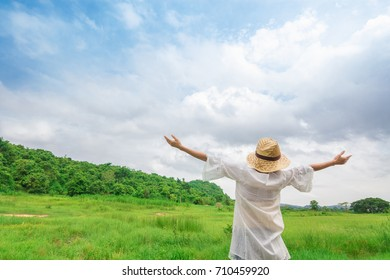 woman relaxing in beautiful nature  looking good happiness freedom style