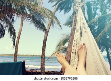 Woman relaxing in a hammock by the beach surrounded by palm trees, Panama