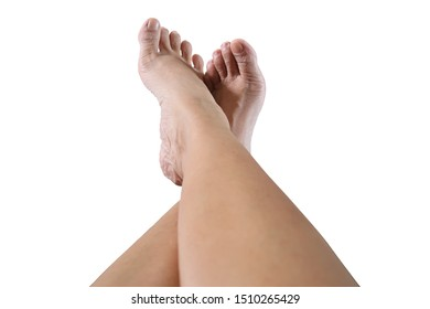 woman is relaxing with lay her legs on couch