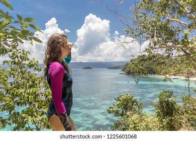 Woman relaxing on tropical beach forest and joy view natural sea beach, Travel Philippine, Beautiful destination place Asia, Summer holiday outdoor vacation trip