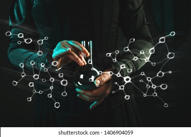 woman is a research scientist holding a flask with the material. Concept of scientific research and history of science. Physics and chemistry, retro style