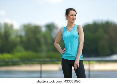 Woman resting after run.