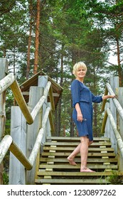 Woman resting in the forest. Jurmala.