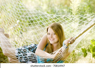 woman resting in hammock