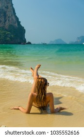woman resting at the  tropical Thailand Railay beach