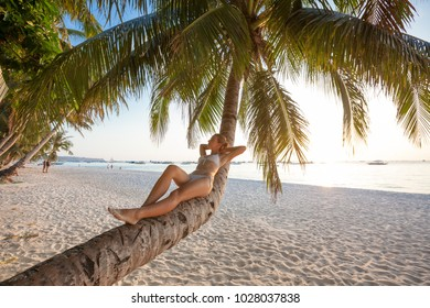 Woman rests at the palm tree near ocean at sunset
