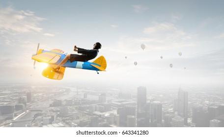 Woman in retro airplane . Mixed media . Mixed media