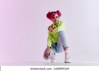 woman retro style pink hair eighties nineties