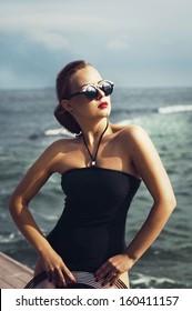woman in retro swimsuit