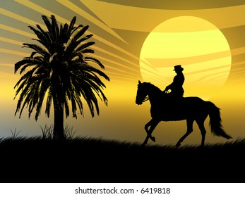 Woman riding with her horse in the sunset