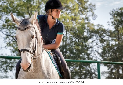 Woman riding a horse on paddock, horsewoman sportswear
