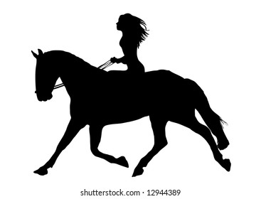 woman riding horse on white background