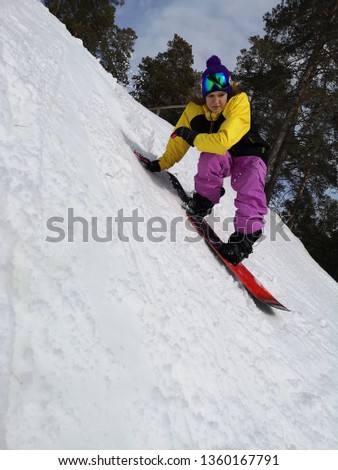 Woman Riding Snowboard Winter Sports Girl Stock Photo Edit