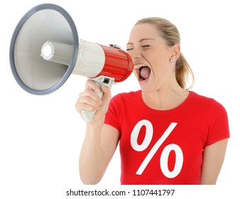 Woman roars special offers for special sale and discount in megaphone isolated on white
