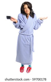 woman in a robe and slippers holding her coffee on a white background