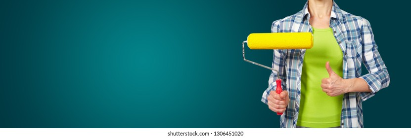 Woman with a roller. On green background