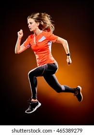 woman runner running jogger jogging isolated