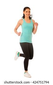 Woman runner running in studio isolated over white background
