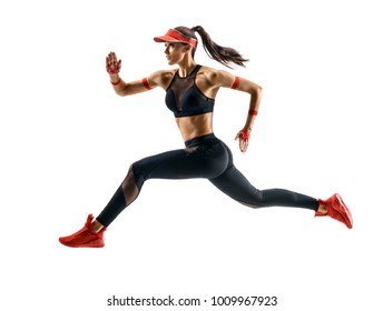 Woman runner in silhouette isolated on white background. Dynamic movement. Side view