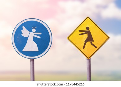 Woman running to the angel. Road sign