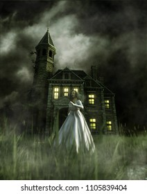 woman running away from a haunted house,3d illustration