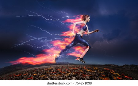 Woman running fast against stormy sky with flash