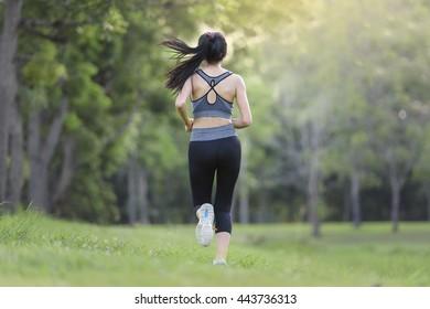 Woman Running at garden