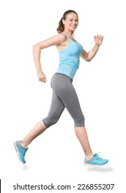 Woman Running Jogging Isolated on White Background
