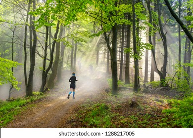 Woman running in a misty forest