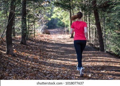 Woman running in nature