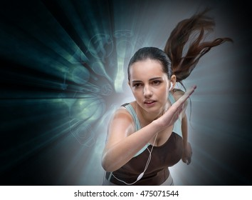 Woman running in sports concept