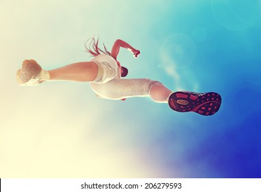woman running, view from below