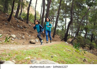 A woman runs with a child on a forest road, The boy runs away from mom, A woman spends time with her son in nature, Walk in the park.