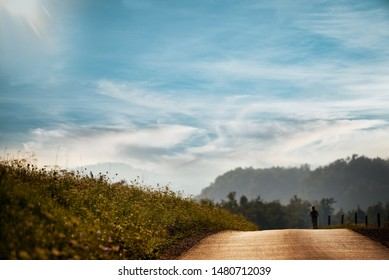 A woman runs in the middle of nature in the morning down the road. Blurred background, cloudy sky.