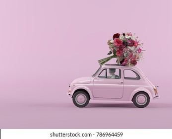 woman rush in a car with bunch of flowers on roof. 3d rendering