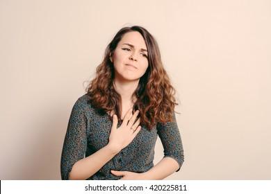 The woman is sad