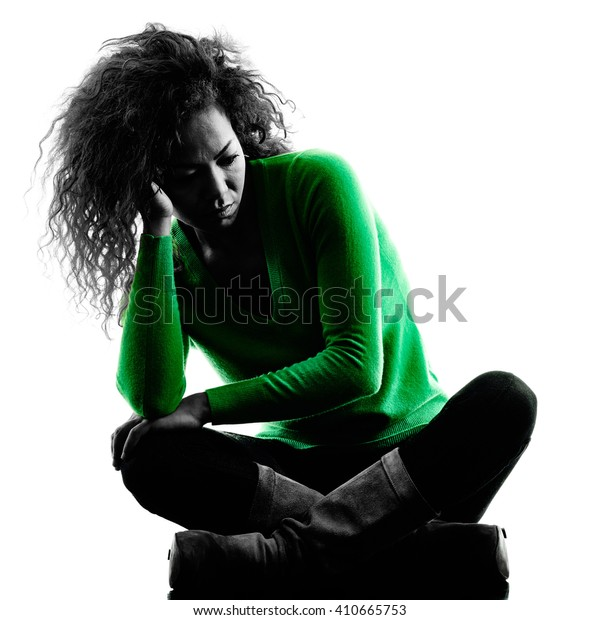 woman sadness despair silhouette isolated