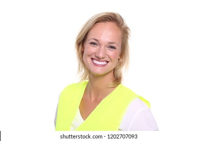 Woman with a safety vest