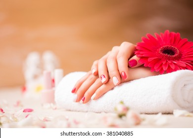 Woman at saloon with pretty manicure