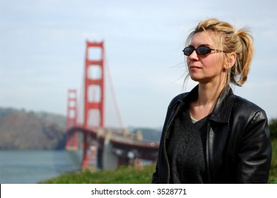 Woman in San Francisco with Golden Gate Bridge in the Background