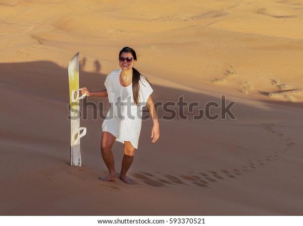 Woman Sand Surfing Beautiful Sand Dunes Stock Photo Edit