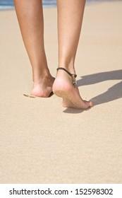 woman at sandy beach in Cadiz Andalusia Spain