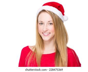 Woman with santa hat