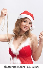 woman in Santa hat with christmas spangle
