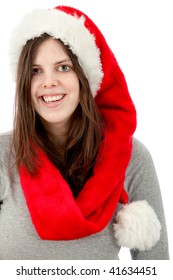 Woman with Santa hat isolated over a white background