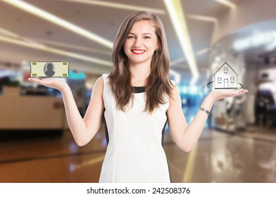 Woman scaling money and house with an inside store background