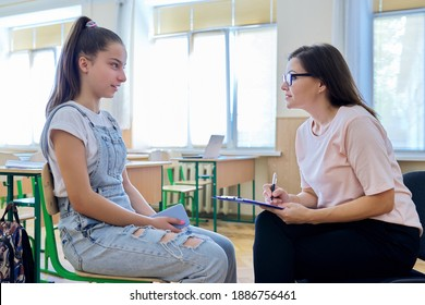 Woman school psychologist talking and helping student, teenage girl. Mental health of adolescents, psychology, social issues, professional help of counselor