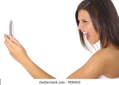 woman screaming at cellphone